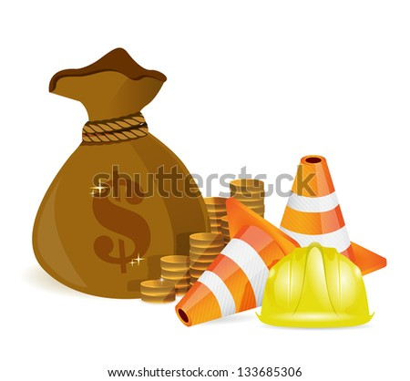 money bag and protected barrier illustration design over white