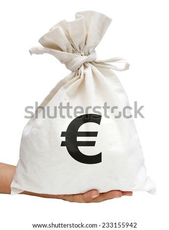 Money Bag (EUR: European Euro) With Path - stock photo