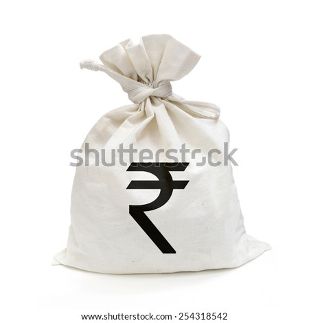 Money Bag (INR : Indian rupee) with path - stock photo