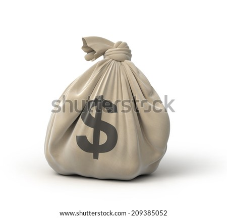 money bag, isolated on white - stock photo