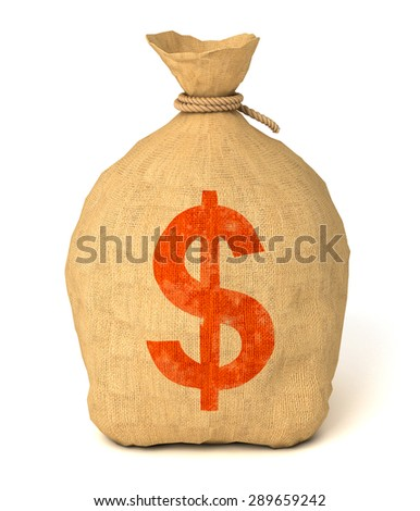 Money bag. Isolated on white background. 3d render - stock photo