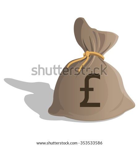 Money bag or sack cartoon style icon with Pound Sterling sign isolated on white background. Great Britain Currency symbol. illustration - stock photo