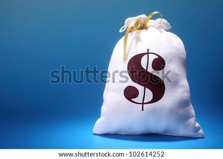 money bag with dollar sign - stock photo