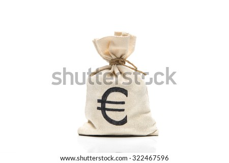 Money bag with Euro sign, isolated on white - stock photo