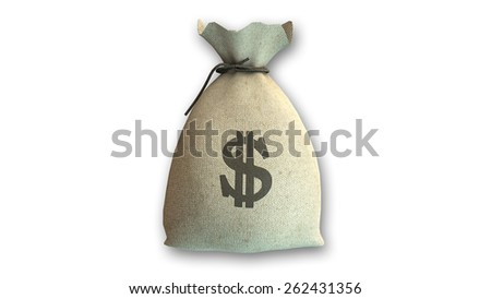 Money bag with US dollar sign isolated on white background, front view