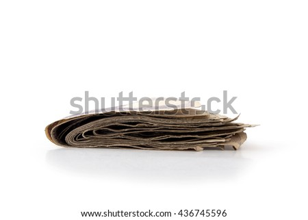 Money banknote stack of  side view, isolated on white background, clipping path