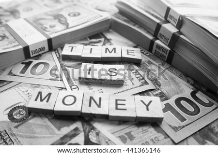 Money Black & White ( Time Is Money ) Stock Photo High Quality