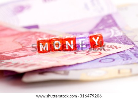MONEY block wording on Indonesian notes, rupiah, money and currency concept