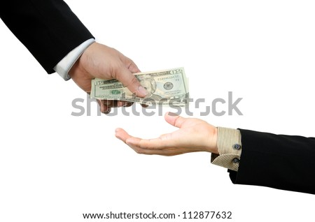 Money,borrow money,Hand giving money to other hand isolated - stock photo