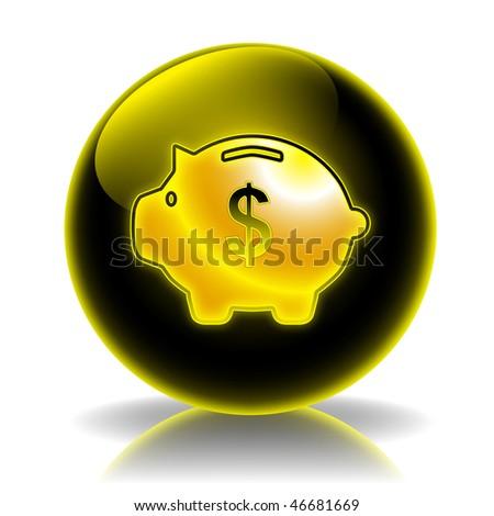 Money box glossy icon - stock photo