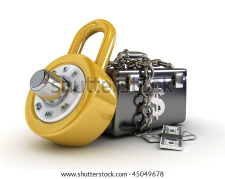 money box with dollars and lock-3d rendered - stock photo