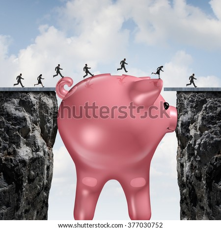 Money bridge financial concept as a huge piggy bank closing the gap between two cliffs as a finance metaphor for budget solution or economic assistance and investment to go forward. - stock photo
