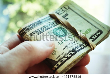 Money Bundle Close Up High Quality - stock photo