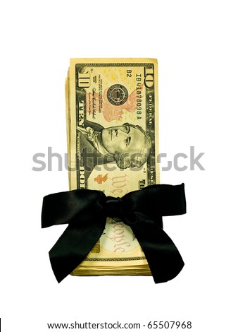 Money Bundle in a Black Ribbon $10 Bills - stock photo