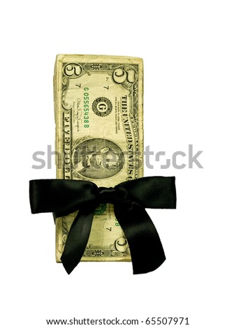 Money Bundle in a Black Ribbon $5 Bills - stock photo