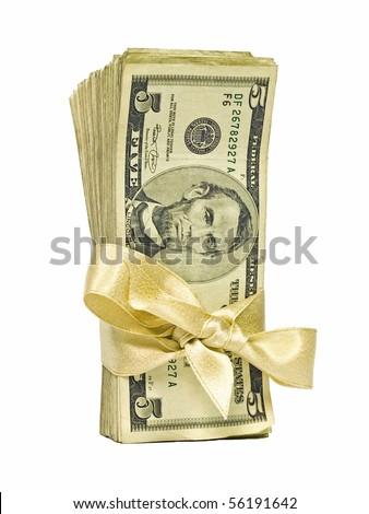 Money Bundle in a Gold Ribbon $5 Bills - stock photo