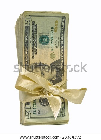 Money Bundles with Ribbon $20 - stock photo