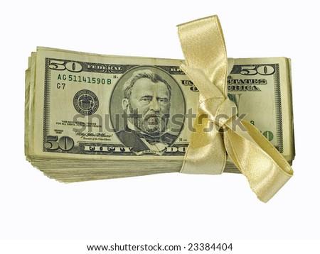 Money Bundles with Ribbon $50 Flat - stock photo