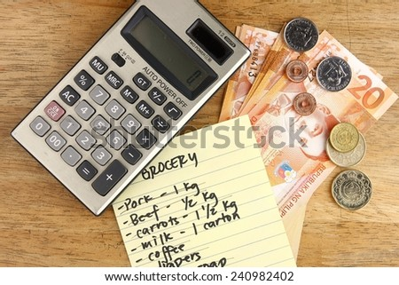 money, calculator and grocery list photo of money, calculator and grocery list on a table - stock photo