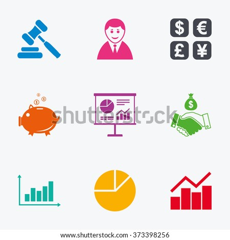 Money, cash and finance icons. Handshake, piggy bank and currency exchange signs. Chart, auction and businessman symbols. Flat colored graphic icons. - stock photo