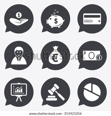 Money, cash and finance icons. Piggy bank, credit card and auction signs. Presentation, pie chart and businessman symbols. Flat icons in speech bubble pointers. - stock photo