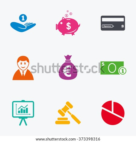 Money, cash and finance icons. Piggy bank, credit card and auction signs. Presentation, pie chart and businessman symbols. Flat colored graphic icons. - stock photo
