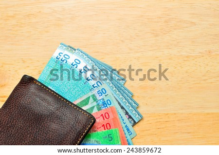Money cash wallet on wooden table with copy space - stock photo