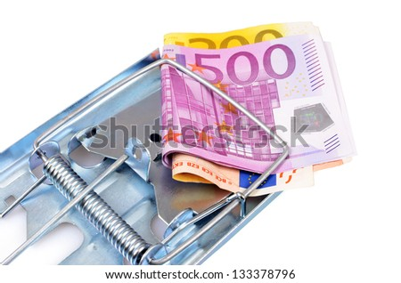 Money caught in a trap - stock photo