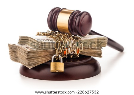 money chain  and judge gavel isolated on white  - stock photo