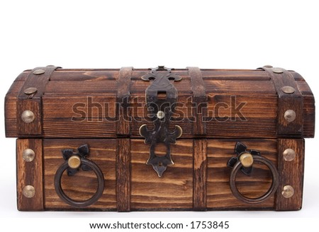 Money chest. Concept of: business, money, pirates and treasure, isolated over white, macro closeup, close-up with copy space - stock photo