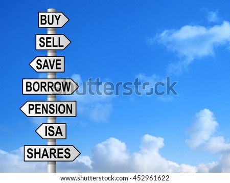 Money choices on signpost against blue sky - stock photo