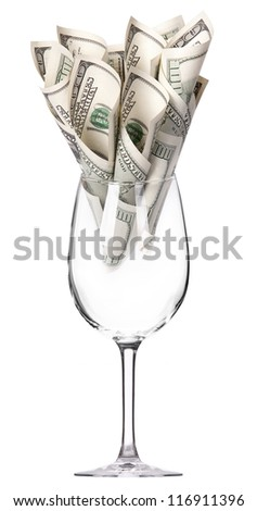 money Cocktail business concept present isolated on a white background