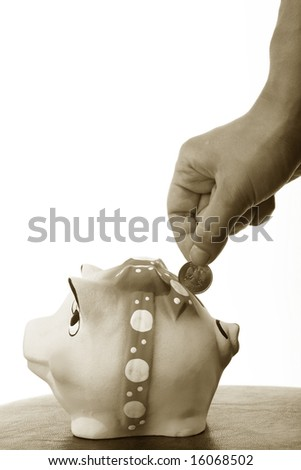 money Coin box pink pig and hand - stock photo