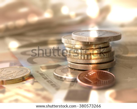 Money coins and bank notes - Euro currency - finance and investment background