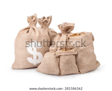 Money coins in bag isolated on white - stock photo