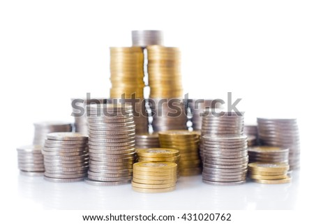 Money (coins) isolated on white background - stock photo