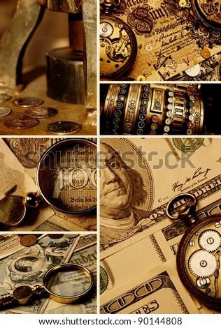 Money collage - stock photo