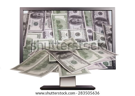 money comes from monitor screen isolated on white - stock photo