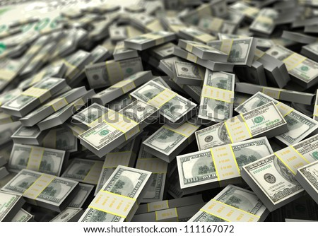 Money concept, a lot of hundred dollars. 3d image - stock photo