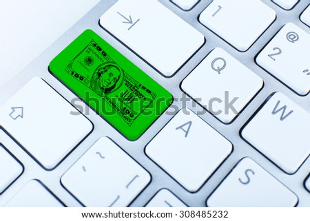 Money concept. Close up of keyboard button - stock photo