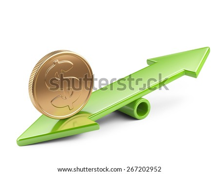 Money concept, coin on scale balance seesaw - stock photo