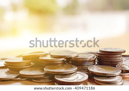 money concept coins currency baht thai, over sunlight [blur and select focus background] - stock photo