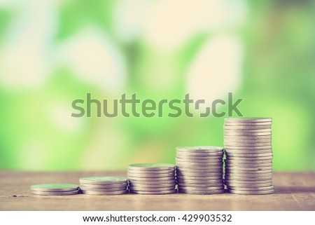 money concept coins currency baht thai with filter effect retro vintage style - stock photo