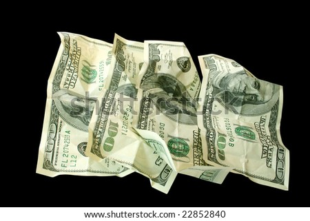 money concept isolated on black (contains clipping path)