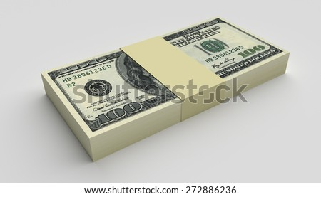 Money concept - many dollars banknotes isolated on white - stock photo