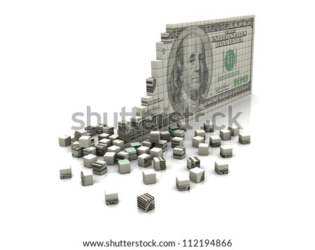 Money concept: puzzle dollar isolated on a white background - stock photo