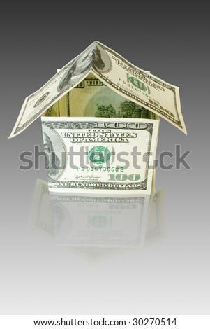 money concept. real estate.  house with reflection