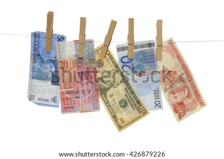Money Concept: 50000 Rupiah (Indonesia), 20 Franc (Swiss), 10 Dollar, 20 Euro and 1000 Colones (Costa Rica) - Isolated on white - Adobe RGB - stock photo