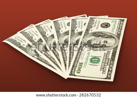 money concept - several dollars banknotes isolated on white - stock photo
