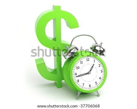 Money Concept with Clock and Dollar Sign isolated on white Background - stock photo